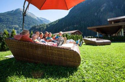 Sunny terrace at Alpenappart Rimlhof in Ötztal